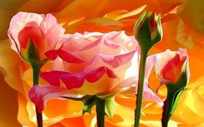 Picture line, flowers, paint, petals, Bud