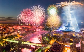 Picture tower, The Bastille day, France, Paris, fireworks, 14 Jul 2015, salute
