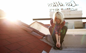 Picture girl, woman, model, tattoo, blonde, tattoos, female, Alysha Nett, roof, flannel