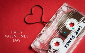 Picture holiday, heart, tape, cassette, congratulations, Happy Valentine's Day