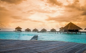 Picture sea, beach, tropics, The Maldives, beach, Laguna, sea, ocean, sunset, Maldives, lagoon, caribbean