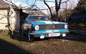 Picture Volga, GAS, White stripes, Cornflower