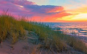 Wallpaper sand, sea, autumn, the sky, grass, clouds, shore, glow