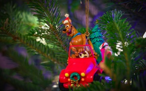 Wallpaper new year, needles, cap, Christmas, dog, figure, driver, branches, positive, Scooby Doo, toy, machine, Christmas ...