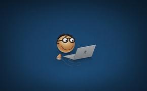 Wallpaper smile, laptop, glasses