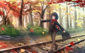 Picture autumn, leaves, girl, trees, the way, anime, art, form, schoolgirl, kikivi