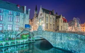 Picture night, bridge, lights, lights, channel, Belgium, Belgium, Bridges, Bruges