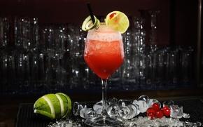 Picture ice, cherry, berries, lemon, glass, cocktail, lime, citrus, drink, Daiquiri