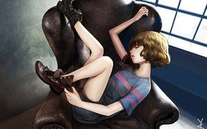 Picture room, chair, anime, art, sleeping, girl