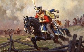 Picture war, jpg, horse, history, historical, uniform, Napoleon, a Messenger