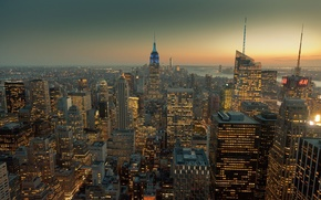Picture city, lights, USA, skyline, sunset, New York, Manhattan, NYC, Empire State Building, Rockefeller Center, skyscrapers, …