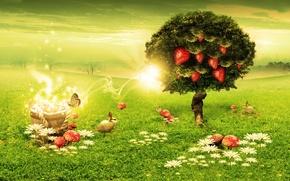 Wallpaper Green, rabbits, mushrooms, tree, strawberry