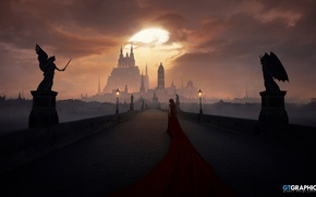Picture the sky, clouds, bridge, castle, woman, Angels and Demons