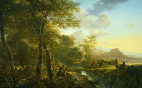 Picture Italian Landscape with Artist, picture, Yang Bot