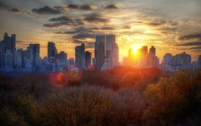 Wallpaper New York, trees, Sunset, Autumn, building, autumn, clouds, sunset