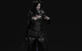 Picture girl, the dark background, weapons, armor, ears, render