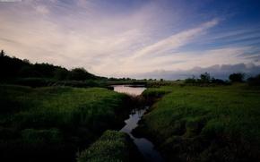 Picture grass, clouds, Stream