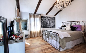Picture design, style, Villa, bed, interior, chandelier, bedroom, bedroom