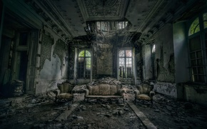 Wallpaper sofa, hall, DESTROYING ANGEL, two chairs, ruined building