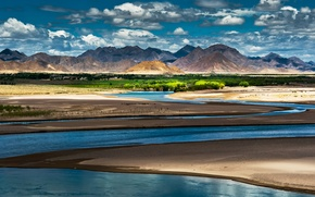 Picture the sky, clouds, light, mountains, river, China, shadows, oasis, china, Tibet, tibet