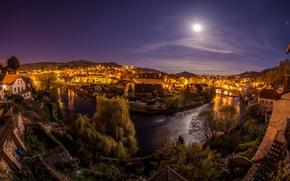 Picture Cesky Krumlov, home, the city, the moon, lights, night, Czech Republic, the sky, Cesky Krumlov, …
