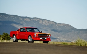 Picture road, the sky, hills, lights, Mustang, Ford, wheel, front, 1965, solar