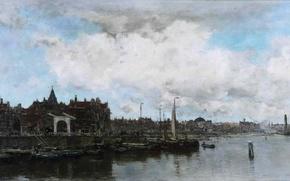 Picture sea, the sky, landscape, clouds, the city, river, home, picture, boats, port, sail, promenade, Jacob ...