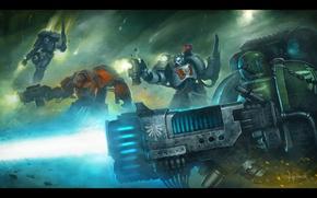 Picture Warhammer 40K, Space Marines, heavy weapons, warrior elites