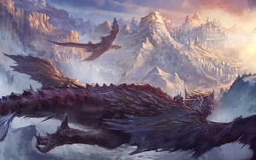 Picture flight, mountains, the city, dragons, art, rider, in the sky