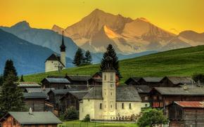 Wallpaper sunset, forest, Gluringen, home, mountains, slope, Switzerland