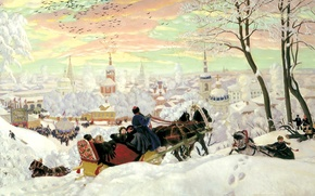 Wallpaper sleigh, picture, canvas, Church, temples, snow, holiday, winter, painting, horse, people, carnival, three, Kustodiev