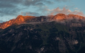 Picture clouds, trees, sunset, rocks, Mountains, Switzerland, Ringgenberg, Roteflue, Ringgenberg