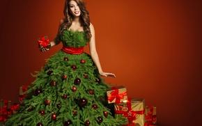 Wallpaper Brown hair, Balls, girl, Tree, Gifts, Bow, New Year, Dress