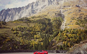 Picture road, the sky, clouds, mountains, rocks, Ferrari