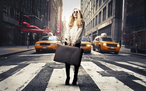 Picture girl, the city, Zebra, blonde, taxi, suitcase, sunglasses