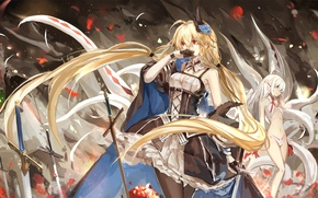 Picture flowers, smile, weapons, girls, anime, petals, art, swords, pixiv fantasia, saberiii, army chief