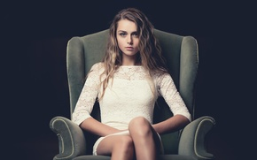 Picture girl, portrait, chair