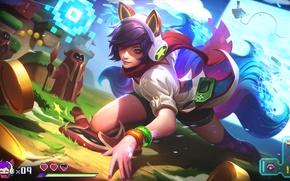 Picture Girl, Fox, Magic, League of Legends, Ahri, Tail, Ears, Nine-Tailed Fox