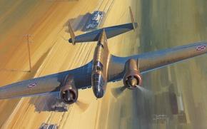 Picture bomber, war, art, painting, drawing, ww2, bombing, medium, polish bomber, Pzl P-37B Los