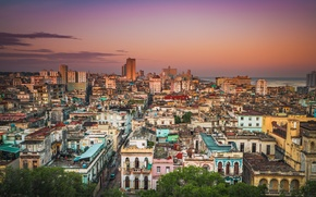 Picture sea, the sky, clouds, building, home, roof, sunrise, street, Cuba, Havana