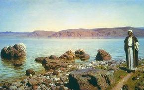 Picture landscape, mountains, picture, traveler, Vasily Polenov, On the sea of Galilee