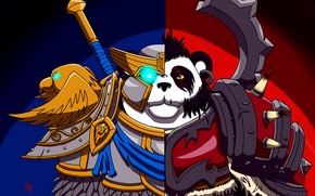 Picture wow, world of warcraft, alliance and Horde, Pandaren, The Horde and Alliance