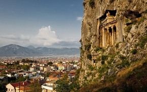 Picture mountains, rock, stones, view, height, home, roof, columns, temple, town, structure, vintage