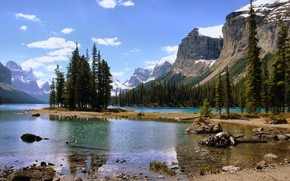 Wallpaper lake, forest, mountains, island, nature, Canada, landscape
