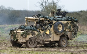 Picture soldiers, Land Rover, armored car