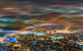 Picture lights, fog, panorama, Bulgaria, Sofia