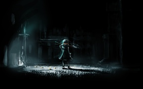 Picture look, darkness, weapons, street, the darkness, girl, lantern, art, lm7