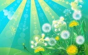 Picture the sun, rays, mood, dandelion, spring, art, Bunny, Sunny Bunny
