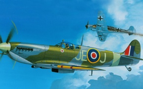 Picture Spitfire, FIGURE, RAF, Supermarine, Mk.IXC, BF-109, English fighter of the Second world war