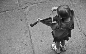Picture music, girl, Violin